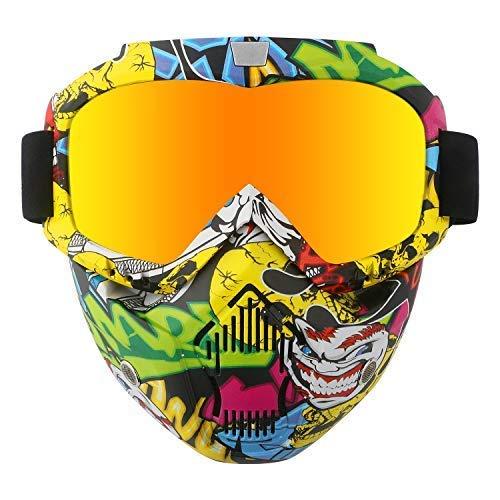 Casco da moto con occhiali, maschera rimovibile, staccabile, caldo antinebbia occhialini, filtro bocca regolabile, cinghia antiscivolo vintage, Harley Bullet Fight motocross