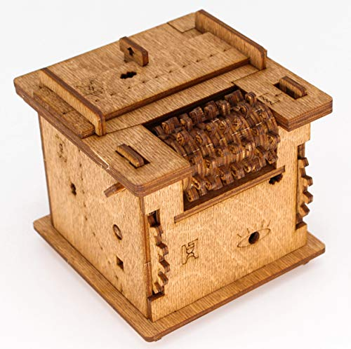 iDventure Cluebox - 60 min Escape Room in a Box. Schrödingers Cat. Rompecabezas 3D de madera Brain Teaser. Caja de lógica. Caja de regalo. Caja de búsqueda