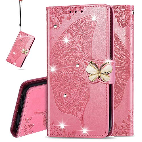 IMEIKONST Hülle für LG K50S Hülle Bling Diamant Geprägt PU Leder Mit Magnetisch Brieftasche Flip Ständer Schutzhülle Handyhülle für LG K50S Cystal Butterfly Pink SD