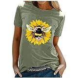 WOBANG Camiseta para mujer y adolescente, con estampado de sol y luna, para verano, divertida, con cuello redondo, manga corta, informal, W24-720 verde M