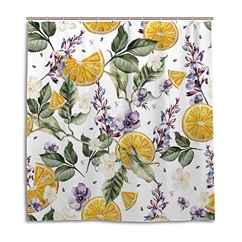 Waterproof Shower Curtains Heavy Duty with Thicken Hooks Polyester Machine Washable Bath Curtain Decoration for Home Hotel Bathroom Watercolor Lavender Flower Lemons 60x72 inch
