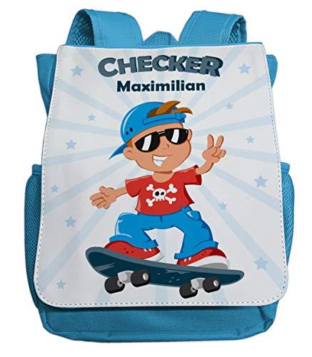 Kleiner Rucksack für Jungen mit Namen | Motiv Checker & Skateboard | Cooler Kinderrucksack inkl. Wunschname | ideal für Kita- und Kindergartenkinder von 2-5 Jahre (hellblau)