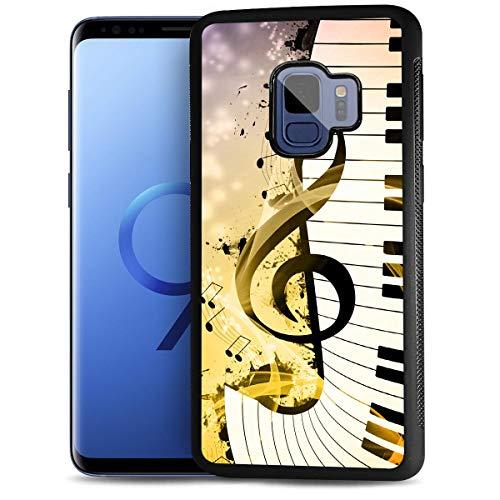 HOT12221 Schutzhülle für Samsung S9, Galaxy S9, strapazierfähig, weiche Rückseite, Handyabdeckung, Motiv: Musikzeichen