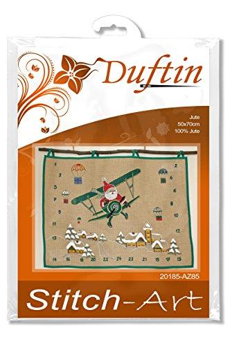 Duftin 20185-AZ85 - Calendario dell'Avvento, Motivo Babbo Natale in Aereo, 51 x 70 cm