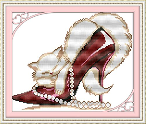 YEESAM ART Nouveau Point de Croix Kits de Broderie au Avancée - Rouge Mode Chaussures à Talons Hauts Chat 14 Comptage 32×27 cm Blanc Toile - Travaux d'aiguille Noël Cadeaux