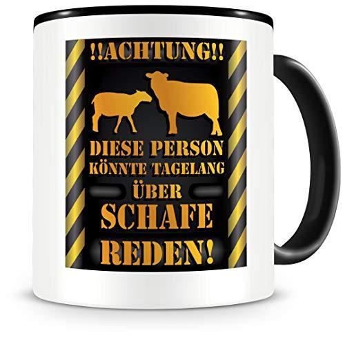 Samunshi® Schaf Tasse mit Spruch Geschenk für Schafe Fans Männer Frauen Kaffeetasse groß Tasse Schaf Tassen zum Geburtstag schwarz 300ml