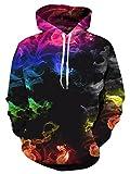 NEWISTAR Unisexe Hommes Femmes Sweats à Capuche Pull à Manches Longues Hiver Sweat-Shirts 3D Hoodies S-4XL, Redrainbow, XL