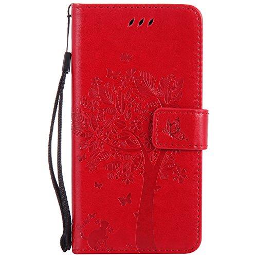 Nancen Compatible with Handyhülle Huawei P8 Lite (2017) / Honor 8 Lite Flip Schutzhülle Zubehör Lederhülle mit Silikon Back Cover PU Leder Handytasche im Bookstyle Stand Funktion