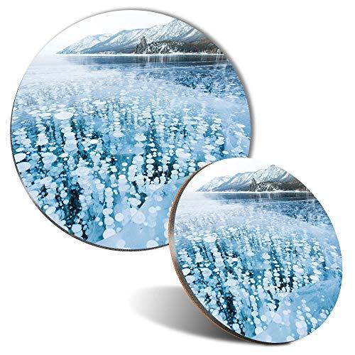 Juego de alfombrilla de ratón y posavasos – Frozen Lake Metano Gas 20 cm & 9 cm para ordenador y portátil, oficina, regalo, base antideslizante #3290