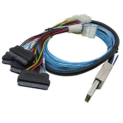 YIWENTEC Mini-SAS SFF-8088 26P to 4 X SAS SFF-8482 29 Pin with Power Cable (H0404-2M)
