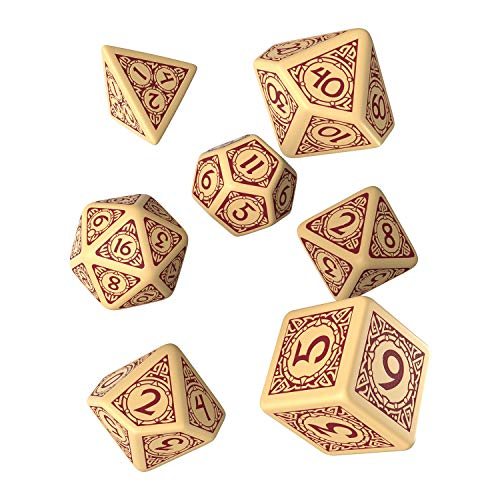 Q-Workshop Viking Beige & Burgundy Dice Set (7)