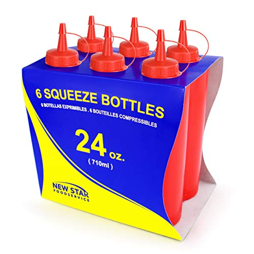 New Star Foodservice 26375Squeeze Flaschen, Kunststoff, 24oz, rot, 6Stück
