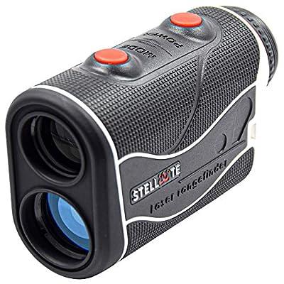 STELLATE Golf Rangefinder with Slope, Precision Laser Range Finder, 6 X Magnification, 500-600 Yard Distance,Flag Lock, Jolt, Adjustment Slope Technology, Accurate to +/-1 Yard (Black/White)