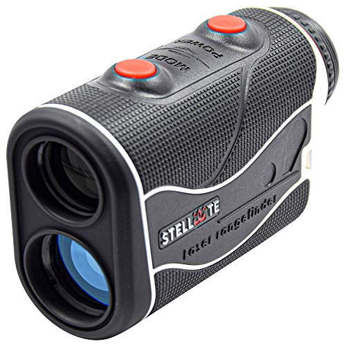 STELLATE Golf Rangefinder with Slope, Precision Laser Range Finder, 6 X Magnification, 500-600 Yard Distance,Flag Lock, Jolt, Adjustment Slope Technology, Accurate to +/-1 Yard (Black/White)