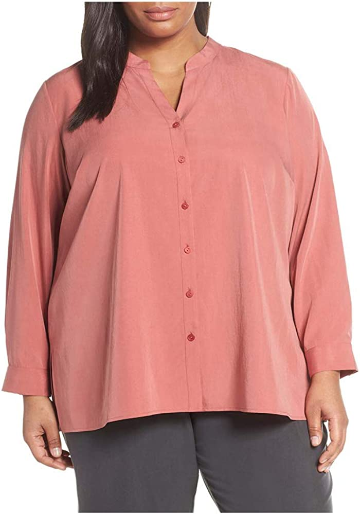 Eileen Fisher Womens Plus Tencel Split Collar Button-Down Top Pink 3X
