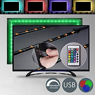 B.K.Licht Multi Color LED TV Backlight, USB LED Strip Light with RGB Remote Control, Home Cinema Lighting, 4 LED strips for TV, 40 - 55 - 60 inches, USB Powered, Multi Color, Eco-friendly