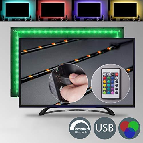 TV LED Beleuchtung - LED Strip - LED Band Dimmbar Selbstklebend 2m 48x RGB USB Fernbedienung IP20 TV Hintergrundbeleuchtung Lichterkette Lichtleiste LED Streifen Farbband Lichtmodi Farbwechsel Effekte