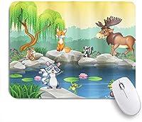 ZOMOY マウスパッド 個性的 おしゃれ 柔軟 かわいい ゴム製裏面 ゲーミングマウスパッド PC ノートパソコン オフィス用 デスクマット 滑り止め 耐久性が良い おもしろいパターン (ムース湖キツネのリスのアライグマによる面白いマスコット動物)