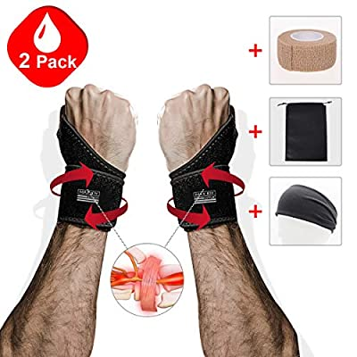 Maxjoy Wrist Brace, Wrist Support / Wrist Straps / Wraps Support / Hand Support / Carpal Tunnel Wrist Braces for Men, Women, Sports Injuries Pain Relief, Fit for Right and Left Hands, Black