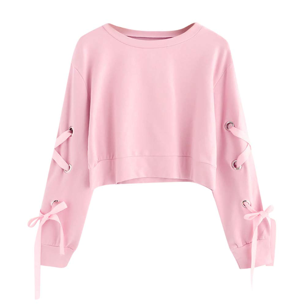 Blouse for Women Long Sleeve Kimloog Womens Casual Lace Up Long Sleeve Pullover Crop Top Solid Sweatshirt 3XL S//M//L//XL//2XL//3XL, Pink