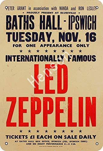 Led Zeppelin Baths Hall-ipswich Cartel de chapa retro Pintura de hierro vintage Placa de aluminio no oxidado Cartel Arte de metal para café