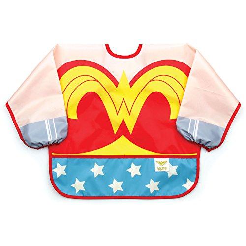 Bumkins DC Comics Wonder Woman Sleeved Bib / Baby Bib / Toddler Bib / Smock, Waterproof, Washable, Stain and Odor Resistant, 6-24 Months
