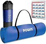 POWRX Gymnastikmatte Premium inkl. Trageband + Tasche + Übungsposter GRATIS I Hautfreundliche Fitnessmatte Phthalatfrei 190 x 60, 80 oder 100 x 1.5 cm (Dunkelblau, 190 x 80 x 1.5 cm)