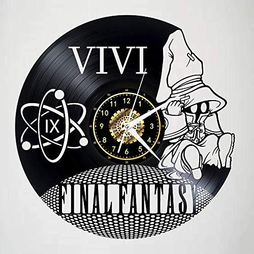 SKYTY Juego Final Fantasy Black Vinyl Record Reloj De Pared Retro Decoración para El Hogar 12 Pulgadas con Luz Led