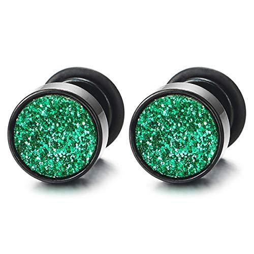 8MM Hombre Mujer Negro Círculo Pendientes Verde Brillo de Arena, Aretes, Acero Enchufe Falso Fake Cheater Plugs Gauges