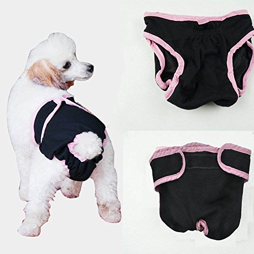Dealglad® acogedor mascota perro algodón fisiológica Sanitaria Menstrual Braguitas Ropa Interior Pantalones de Pañales Lavable