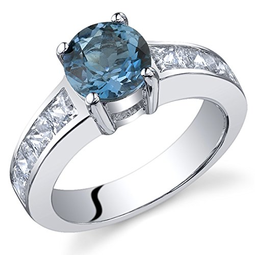 London Blue Topaz Ring Sterling Silver Round Shape CZ Accent Size Q