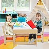 Grupo de Asientos para Niños Mesa y 2 Sillas, Juego de Mesa y Silla 3 en 1 Con Cajones de Almacenamiento, Pizarra para Pintar,Espacio para Juegos de Niños en Edad Preescolar Muebles para Niños