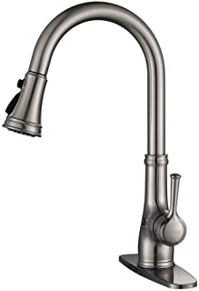 Kitchen Faucet-WEWE Single Handle Stainless Steel Brushed Nickel Pull Down Kitchen Sink Faucet with Pull Out Sprayer