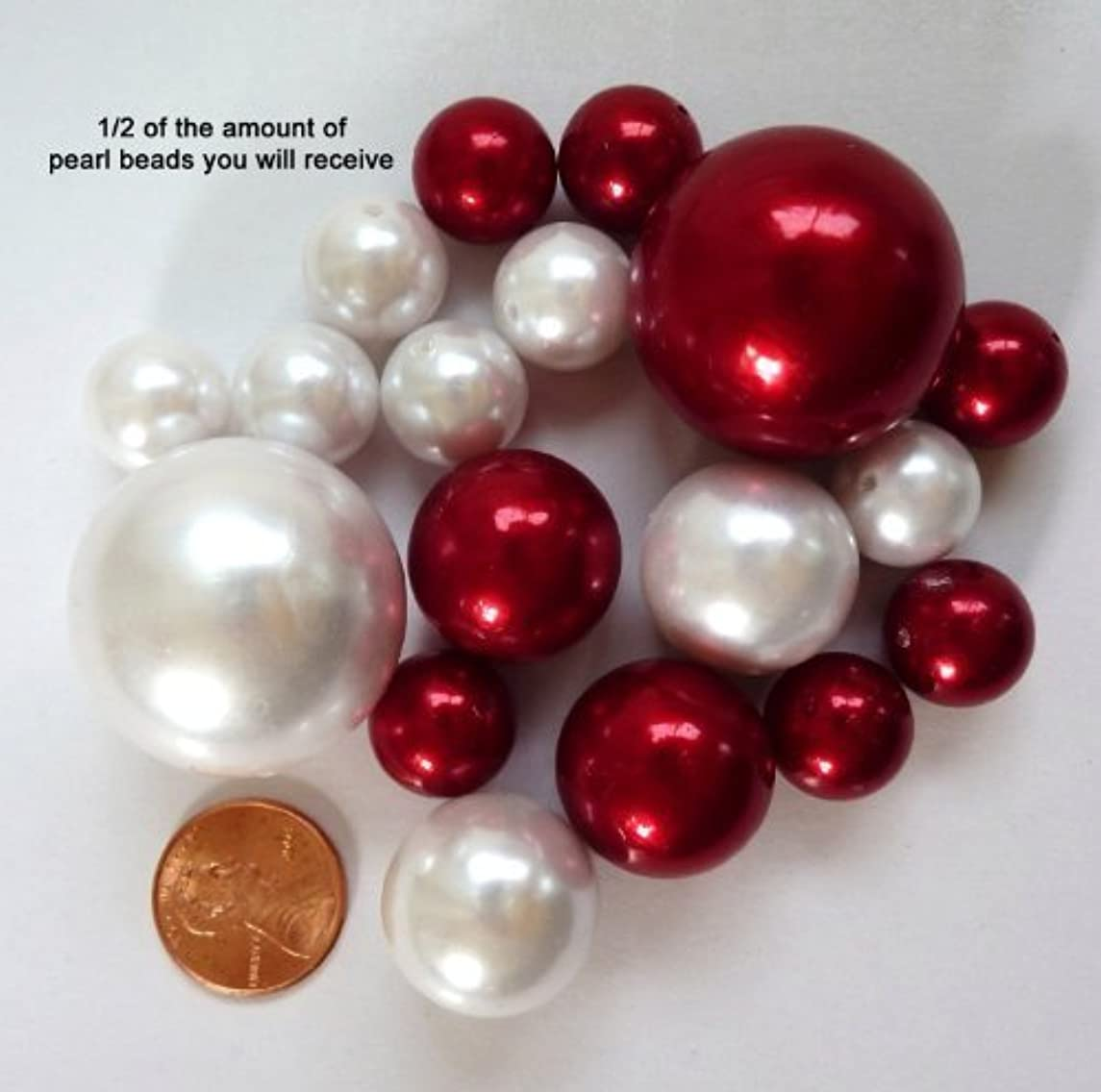 Easy Elegance by JellyBeadZ 34 Garnet Burgundy and White Pearl Beads - 12 Gram Pack Clear JellyBeadZ That Float the Pearls is Included. Great for Wedding Centerpieces and Decorations