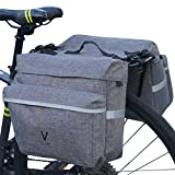 Vuudh Water-Resistant Portable Bike Pannier Bag - 26L Bicycle Panniers with Reflective Trim, Bike Rear Seat Saddle Bags (Grey)
