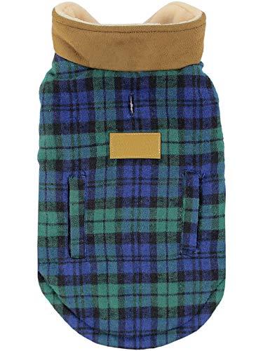 Parisian Pet - Scottish Green Plaid Dog Vest Coat/Fleece Sweater - Perfect Dog Sweaters for Christmas - Size M
