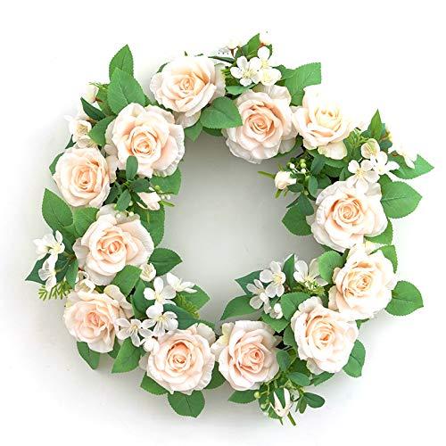 QYLJZB Corona de flores artificiales de 16.5 pulgadas, corona de rosas de simulación de verano para puerta delantera, ventana de pared y festival, ramo de fiesta, decoración de boda