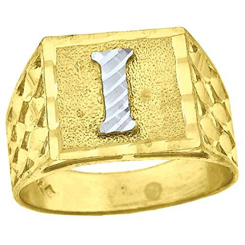 Anillo de oro de dos tonos de 10 quilates para hombre con textura inicial con letra I y mide 11,5 x 5 mm de ancho, para regalo de joyería para hombres, grado superior al oro de 9 quilates