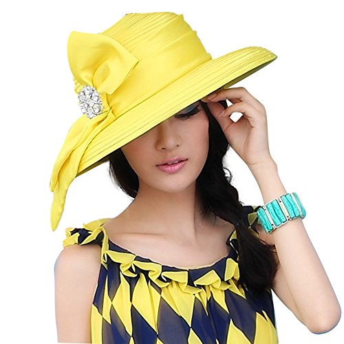 June's Young Women Church Hats Wide Brim Sun hat Designer Derby Hats Ultraviolet Protection (Yellow)
