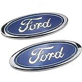 YUEXING 2 Pack Car Logo Emblem Griglia Anteriore/Distintivo per portellone Posteriore, per Accessori Ford Old Mondeo Fox Fiesta Refit