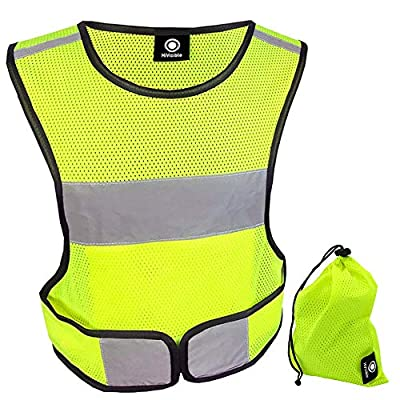HiVisible Reflective Vest - Reflective Running Gear for Men and Women for Night Running, Biking, Walking. Reflective Running Vest, Safety Straps, Reflector Strips (Green Vest)
