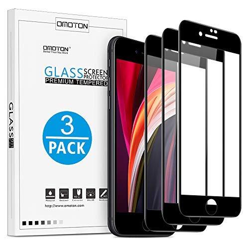 OMOTON [3 Stück Panzerglas Schutzfolie für iPhone SE 2020, iPhone 8, iPhone 7 und iPhone 6s/6 [Anti-Kratzen], [Anti-Öl], [Anti-Bläschen], [4,7 Zoll], [3D Vollständige Abdeckung]