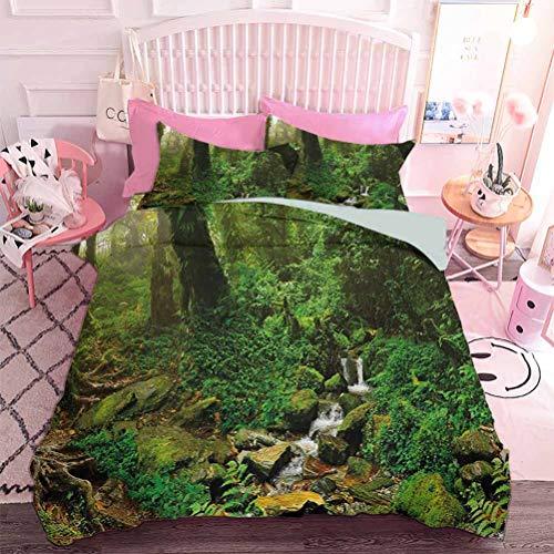 Hiiiman Juego de edredón de 3 piezas de alta calidad con árboles de bosque tropical y hierba fresca en Nepal, selva, naturaleza salvaje foto tropical (3 piezas, tamaño doble) con 2 fundas de almohada