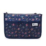 Periea Handbag Organizer Organizador de bolsos - Kiri - Floral azul o crema - Pequeño, mediano o grande (Pequeña, Azul floral)