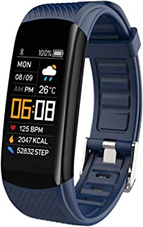WUHUAROU Reloj de Pulsera Inteligente Monitor de presión Arterial Pulsera de Fitness Reloj Inteligente Monitor de Ritmo cardíaco Reloj de Banda Inteligente (Color : Blue)
