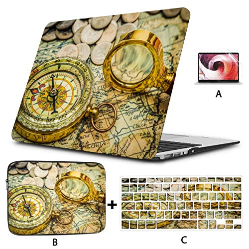 15 Inch Laptop Cover Compass Magnifying Glass Gold Color On Laptop Cover Case Hard Shell Mac Air 11'/13' Pro 13'/15'/16' With Notebook Sleeve Bag For Macbook 2008-2020 Version