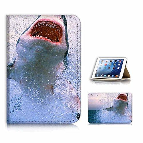 (für iPad Mini 123, Generation 1/2/3) Flip Case Cover & Displayschutzfolie Bundle–a21048Shark Horror Maus