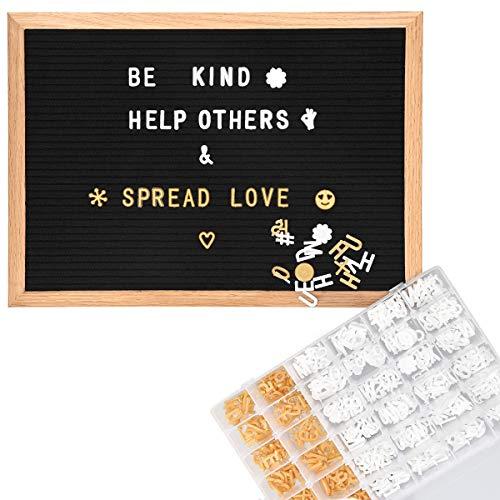 Navaris Filz Letter Board 30 x 42cm - 543 Buchstaben Zeichen Weiß Gold zugeschnitten - Eichenholz Rahmen Letterboard - Retro Pinnwand Tafel Schwarz