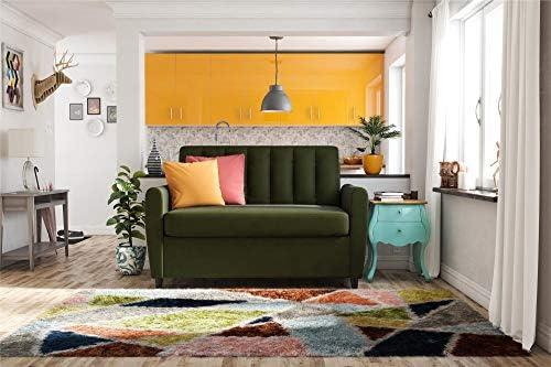 Best Novogratz Brittany Sleeper Sofa with Memory Foam Mattress, Green Linen, Twin