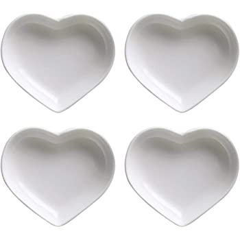 4pcs Kitchen Love Heart Shaped Seasoning Dish Food Snack Dish Plate Sauce Plate